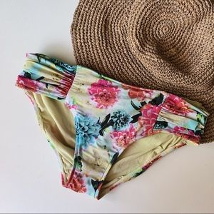 SEAFOLLY Dahlia Print Ruched Bikini Bottoms